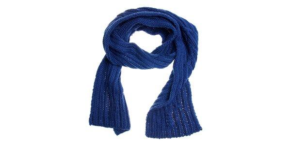 Dámska žiarivo modrá pletená šála Fraas
