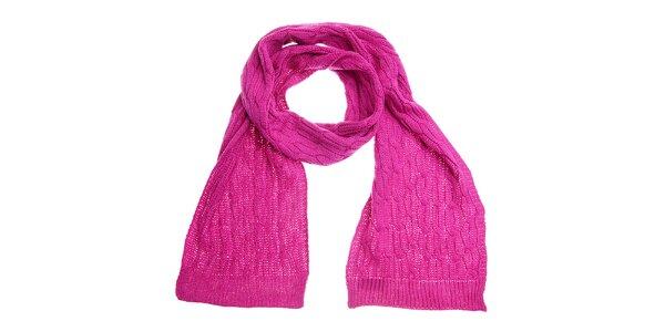 Dámska sýto ružová pletená šála Fraas