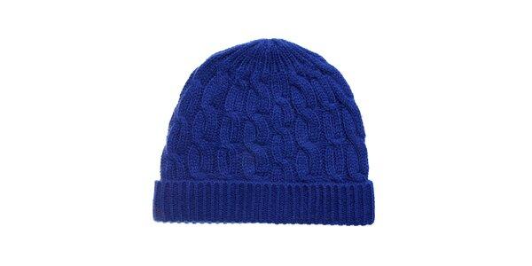 Dámska žiarivo modrá pletená čapica Fraas