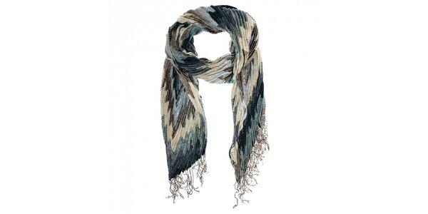 Dámsky modro-šedý plisovaný šál Fraas