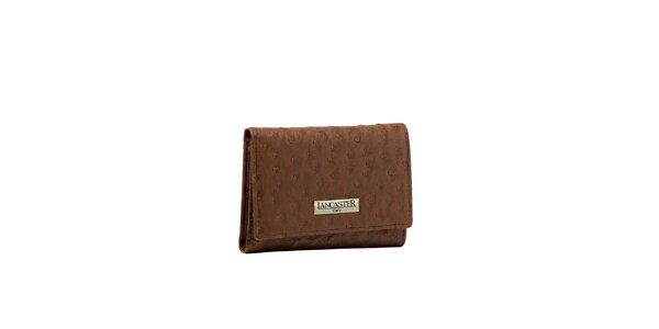 Dámska hnedá peňaženka Lancaster s imitáciou pštrosej kože