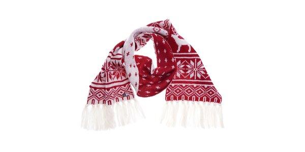 Dámska červeno-biela vlnená šála Fraas s finským vzorom