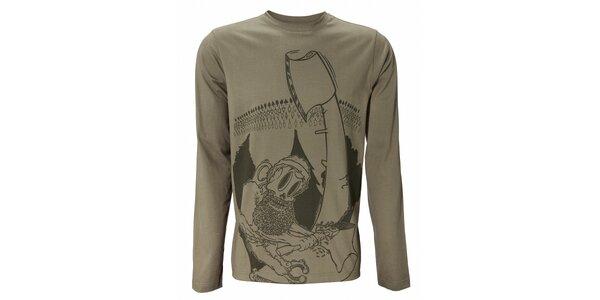 Pánske olivové tričko Fundango s potlačou