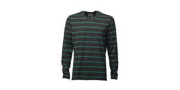 Pánske tmavo šedé tričko Fundango s tyrkysovým prúžkom