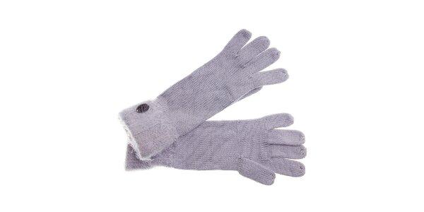 Dámske svetlo šedé rukavice Pietro Filipi s chlupatým lemom