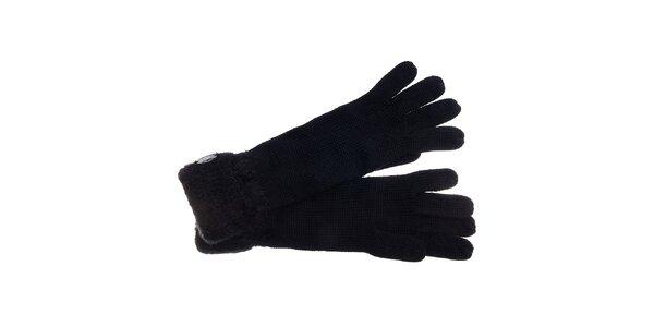 Dámske čierne rukavice Pietro Filipi s chlupatým lemom