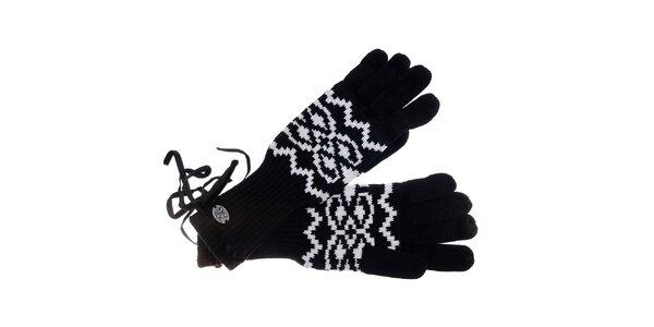 Dámske čierno-biele rukavice Pietro Filipi s nórskym vzorom