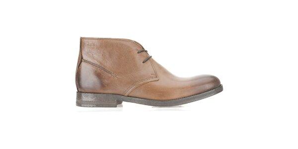 Pánske kožené členkové béžové topánky Clarks