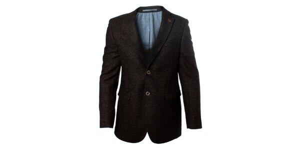 Pánske tmavé vlnené sako so záplatami na lakťoch Caramelo