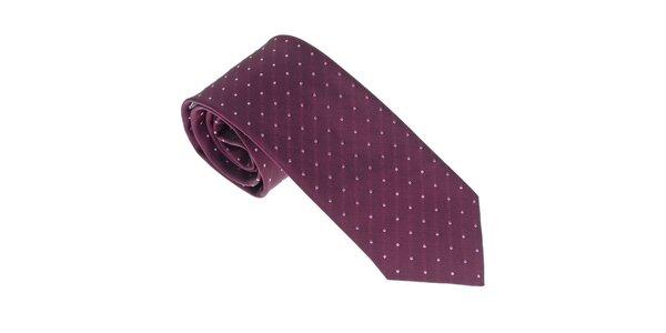 Luxusná tmavo fialová kravata s detailmi Castellet Barcelona