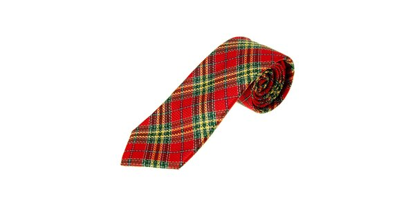 Pánska červená kravata Moschino so škótskym kockovaným vzorom