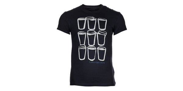 Pánske modré tričko Calvin Klein s potlačou