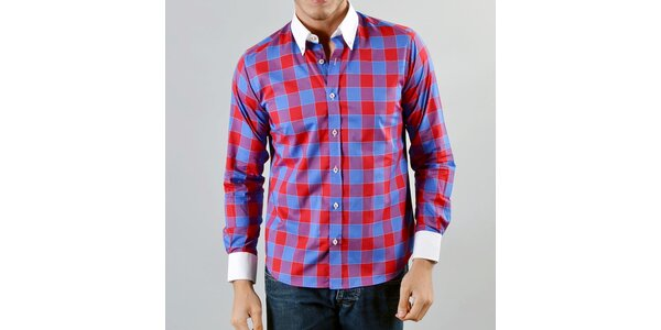 Pánska modrá červeno károvaná košeľa Marcel Massimo