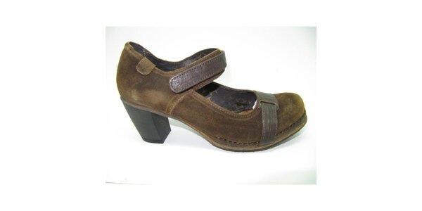 Dámske hnedé semišové topánky na opätku Goldmud
