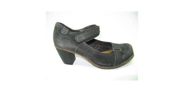 Dámske šedé semišové topánky na opätku Goldmud