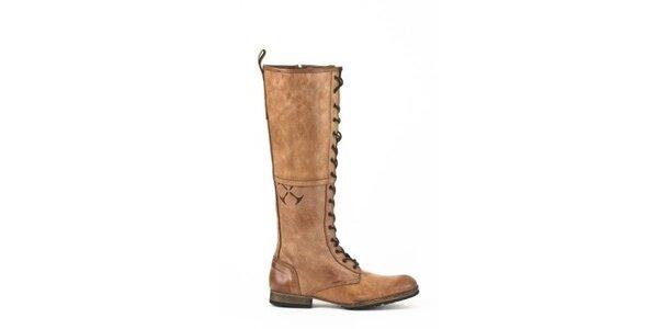 Dámske vysoké svetlo hnedé topánky so šnurovaním Goldmud