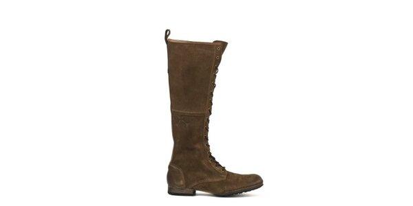 Dámske vysoké hnedé topánky so šnurovaním Goldmud