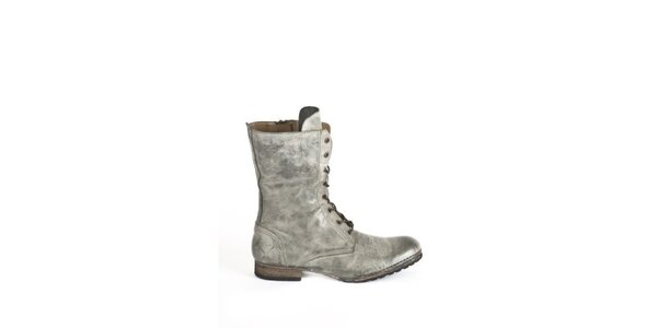 Dámske svetlo šedé topánky so šnurovaním Goldmud
