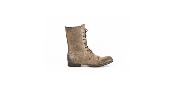 Pánske béžové kožené šnurovacie topánky Goldmud