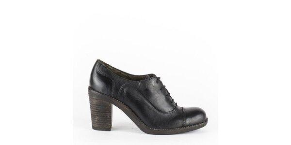 Dámske čierne šnurovacie topánky na opätku Goldmud