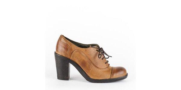 Dámske karamelovo hnedé šnurovacie topánky na opätku Goldmud