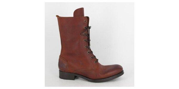 Dámske červeno-hnedé šnurovacie topánky Goldmud