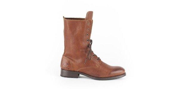 Dámske koňakovo hnedé šnurovacie topánky Goldmud
