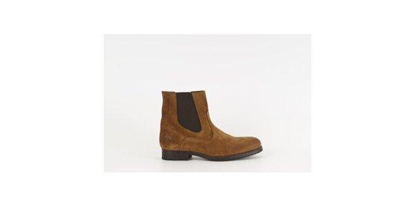 Dámske hnedé semišové chelsea topánky Goldmud