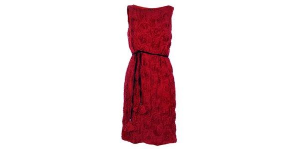 Dámske červené koktejlové šaty Pietro Filipi s ružami