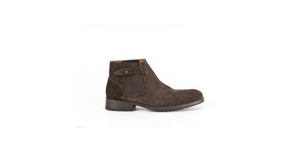 Pánske tmavo hnedé členkové topánky Goldmud