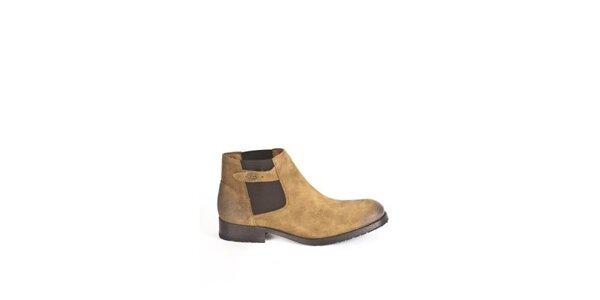 Pánske hnedo-žlté členkové topánky Goldmud