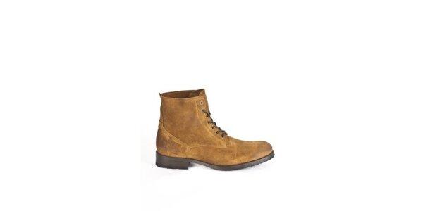 Pánske svetlo hnedé šnurovacie topánky Goldmud