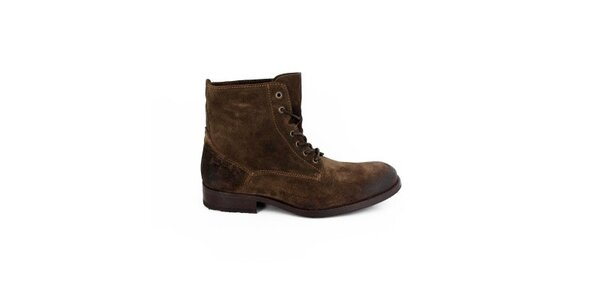 Pánske tmavo hnedé šnurovacie topánky Goldmud