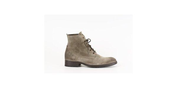 Pánske šedo-hnedé šnurovacie topánky Goldmud