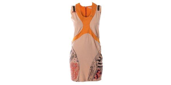 Dámske ružovo-oranžové šaty bez rukávov Angels Never Die