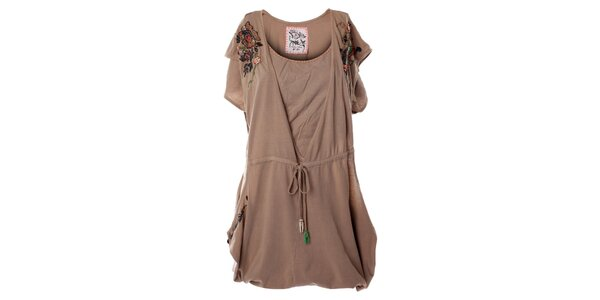 Dámske béžové šaty s kvetinovou aplikáciou Angels Never Die