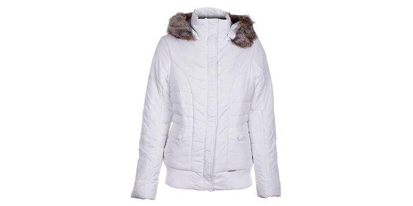 Dámska biela zimná bunda Loap s kožúškom
