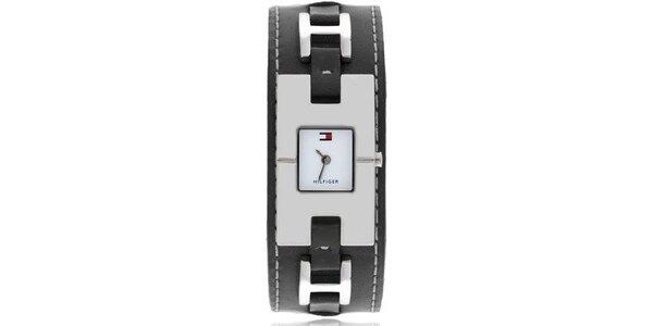 Dámske náramkové hodinky s čiernym oceľovým remienkom Tommy Hilfiger