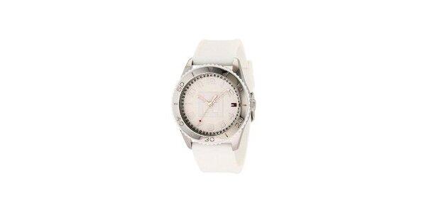 Dámske oceľové hodinky Tommy Hilfiger s bielym silikonovým remienkom