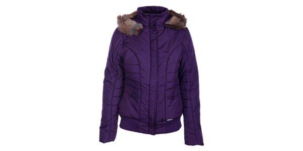 Dámska tmavo fialová zimná bunda Loap s kožúškom
