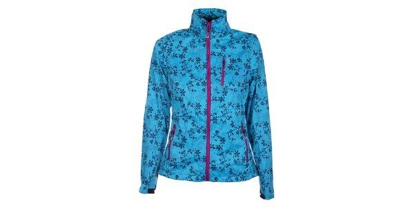 Dámska azúrovo modrá softshellová bunda Loap s potlačou