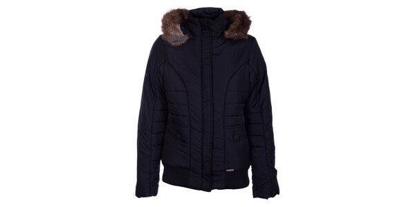 Dámska tmavo hnedá zimná bunda Loap s kožúškom