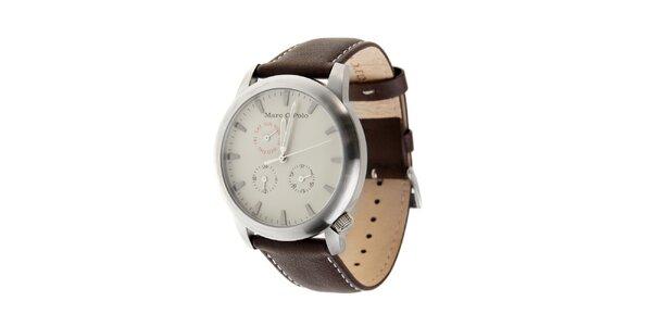 Marc O´Polo hodinky s tmavo hnedým koženým remienkom a bielym ciferníkom