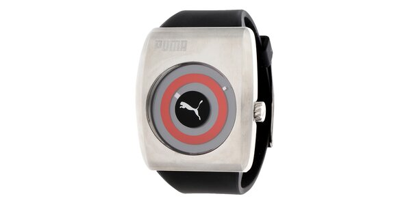 Pánske čierno-strieborné hodinky s červeným detailom Puma