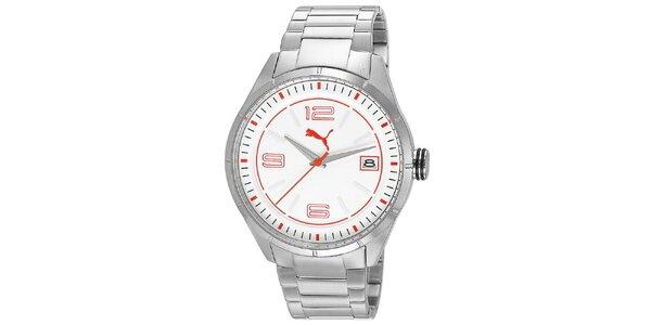 Pánske strieborné hodinky s bielym ciferníkom Puma