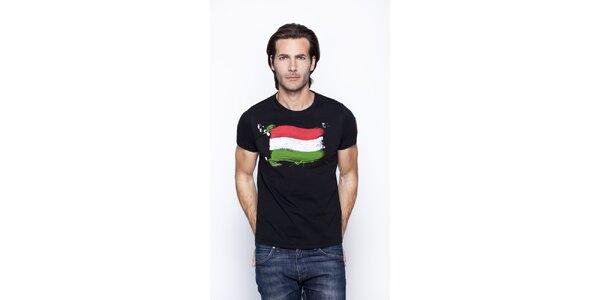 Pánske čierne tričko s potiskom talianskej trikolóry Giorgio di Mare