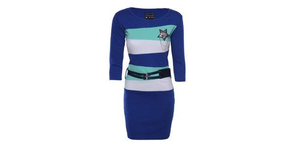 Dámske modré pruhované šaty Giorgio di Mare