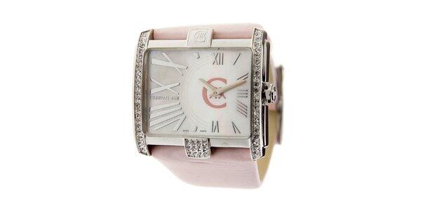 Dámske hodinky Cerruti 1881 s ružovým pásikom a kryštálmi