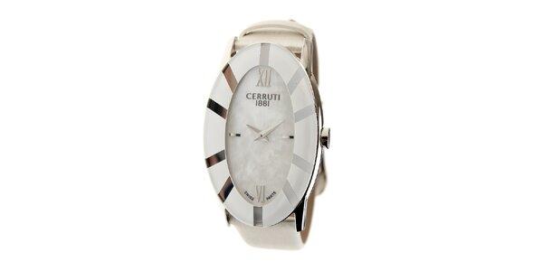 Dámske biele hodinky Cerruti 1881 s bielym koženým pásikom