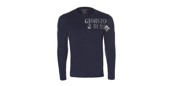 Pánske čierne tričko s dlhým rukávom a potlačou Giorgio di Mare